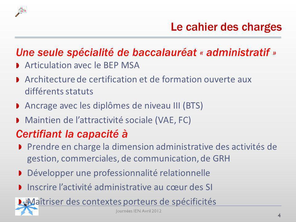Le cahier des charges Une seule spécialité de baccalauréat « administratif » Articulation avec le BEP MSA.
