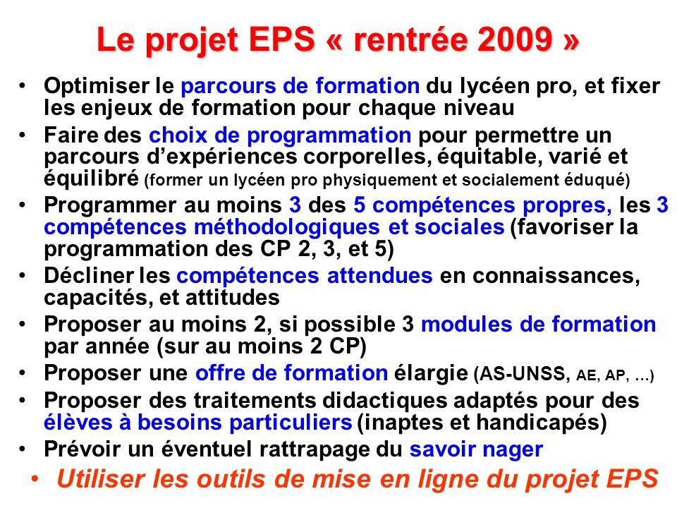Le projet EPS « rentrée 2009 »