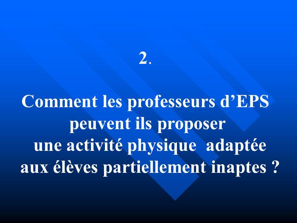 Comment les professeurs d'EPS peuvent ils proposer