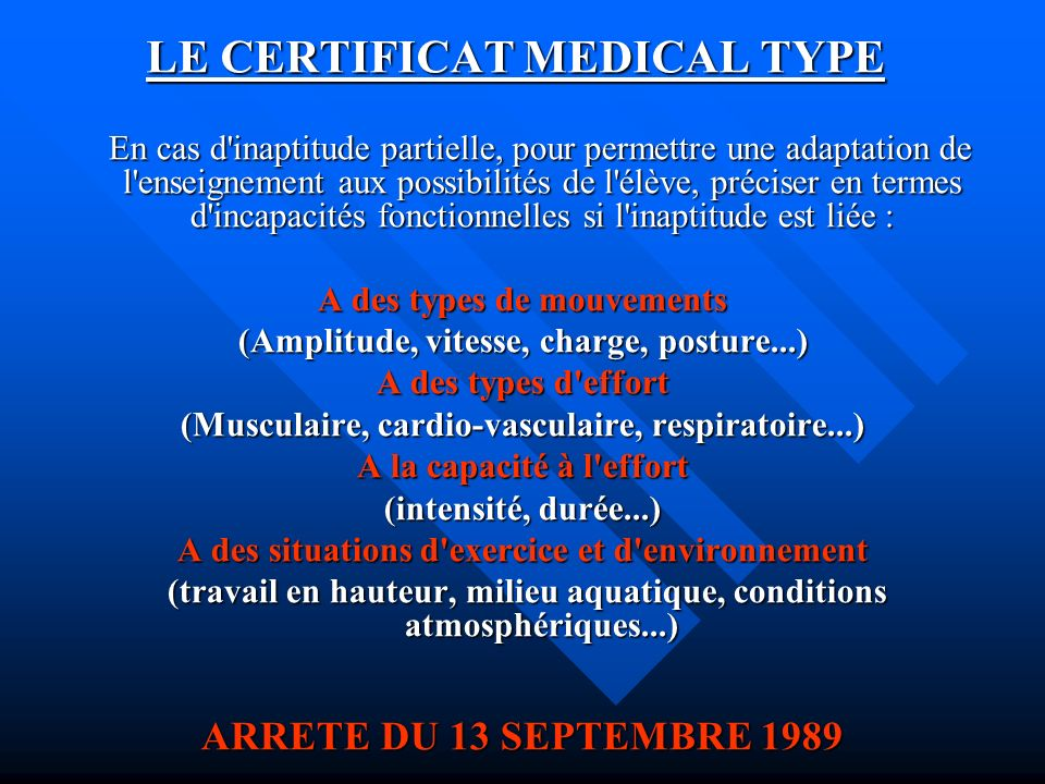 LE CERTIFICAT MEDICAL TYPE