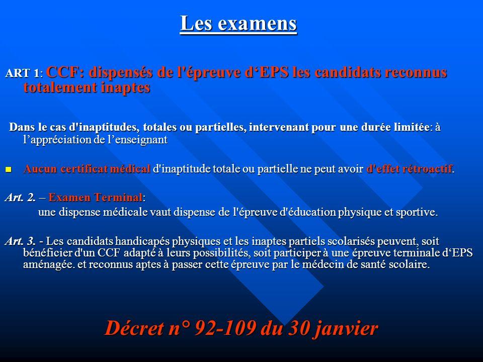 Les examens Décret n° 92-109 du 30 janvier