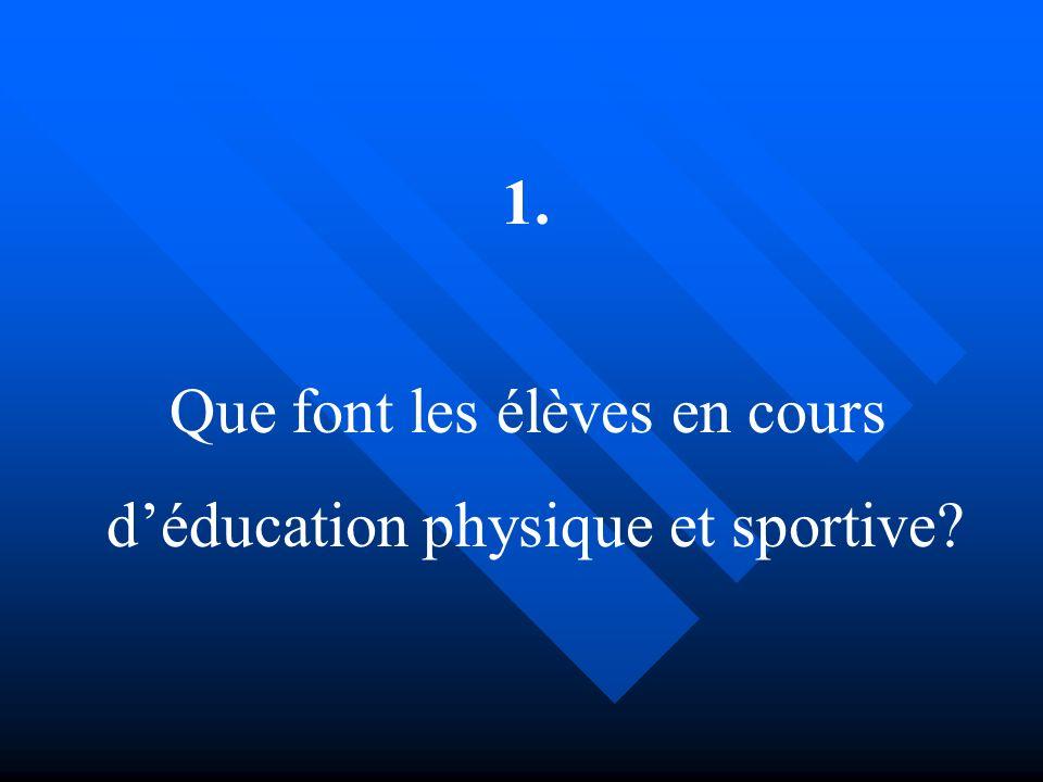 Que font les élèves en cours d'éducation physique et sportive