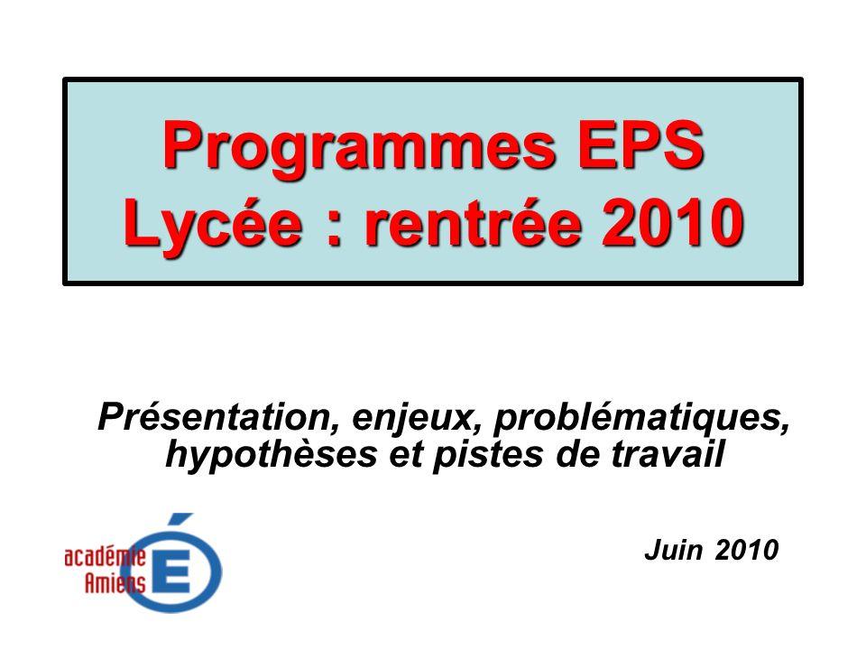 Programmes EPS Lycée : rentrée 2010