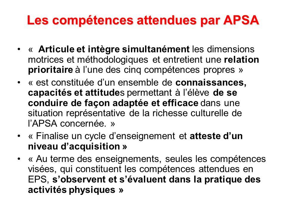 Les compétences attendues par APSA