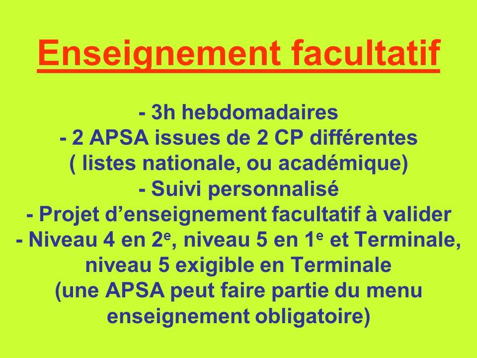Enseignement facultatif - 3h hebdomadaires - 2 APSA issues de 2 CP différentes ( listes nationale, ou académique) - Suivi personnalisé - Projet d'enseignement facultatif à valider - Niveau 4 en 2e, niveau 5 en 1e et Terminale, niveau 5 exigible en Terminale (une APSA peut faire partie du menu enseignement obligatoire)