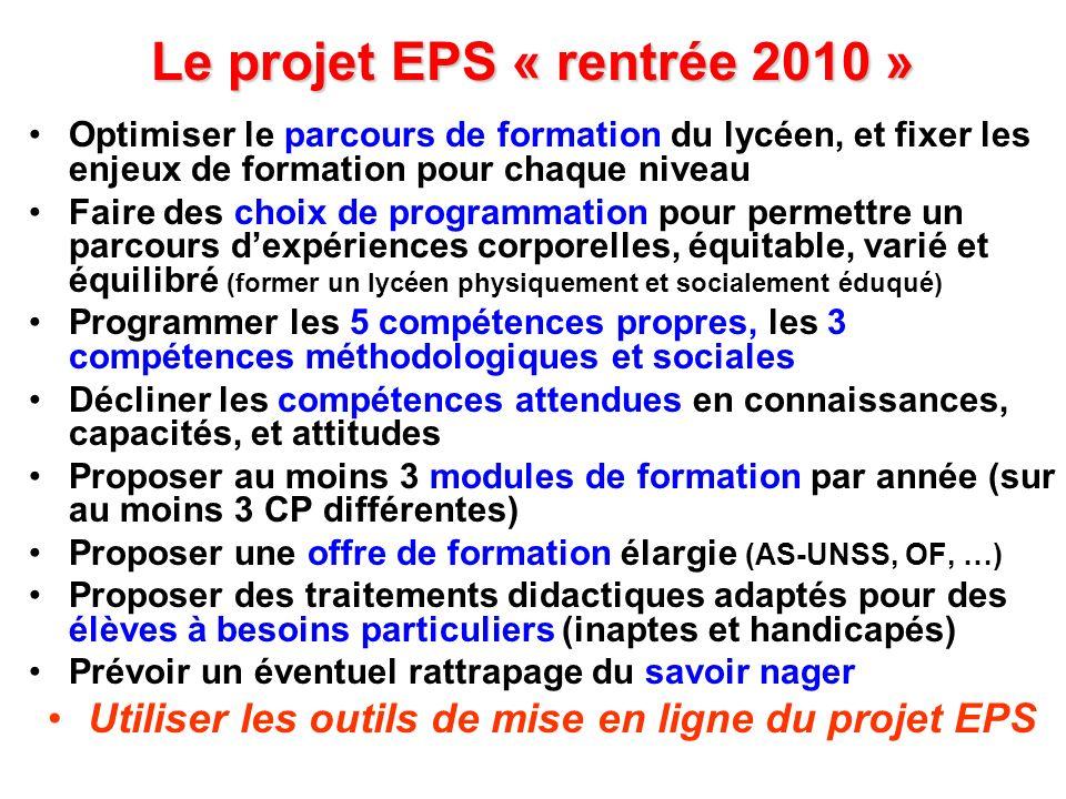 Le projet EPS « rentrée 2010 »