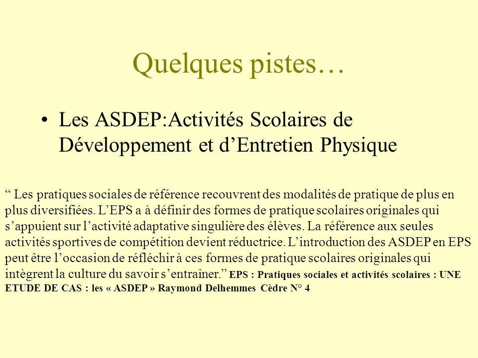 Quelques pistes… Les ASDEP:Activités Scolaires de Développement et d'Entretien Physique.