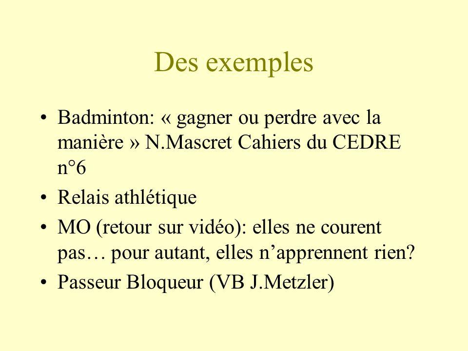 Des exemples Badminton: « gagner ou perdre avec la manière » N.Mascret Cahiers du CEDRE n°6. Relais athlétique.