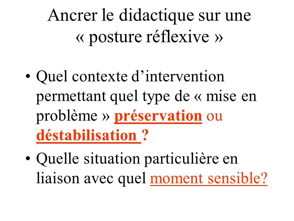 Ancrer le didactique sur une « posture réflexive »