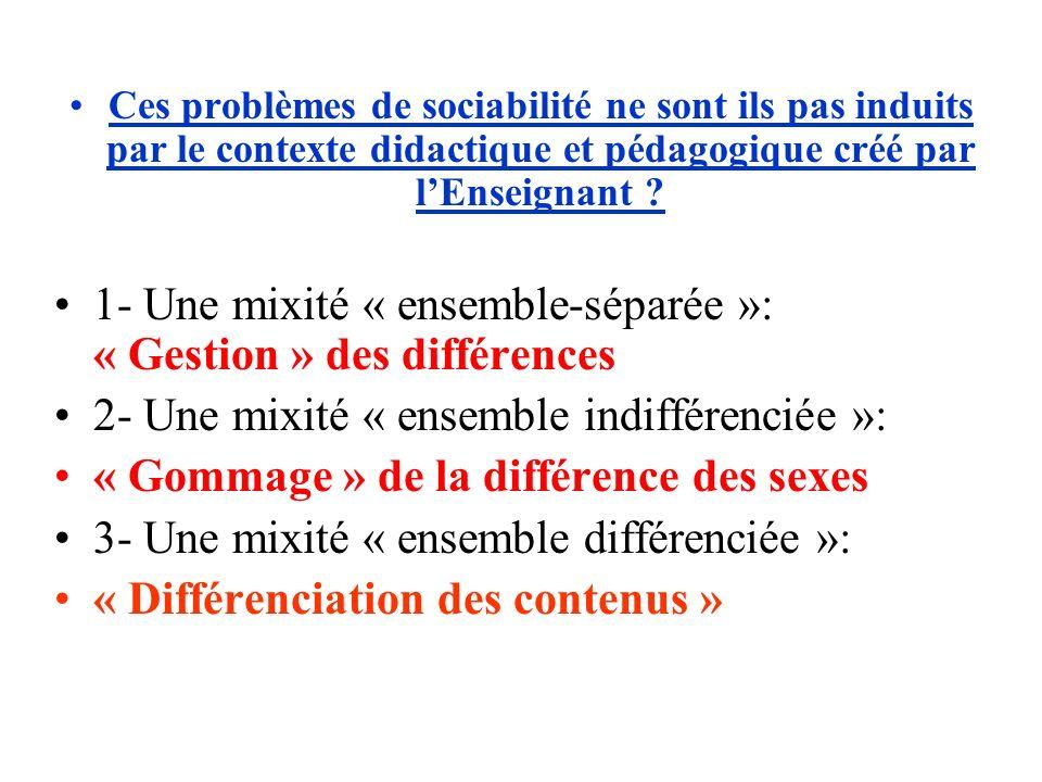 1- Une mixité « ensemble-séparée »: « Gestion » des différences