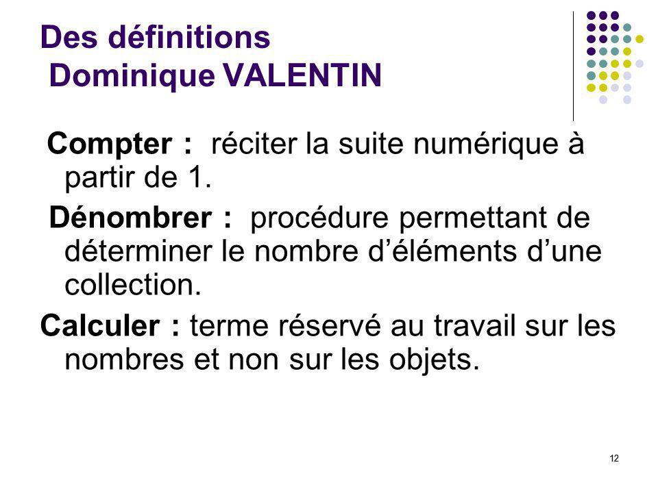 Des définitions Dominique VALENTIN