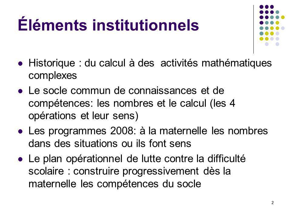 Éléments institutionnels