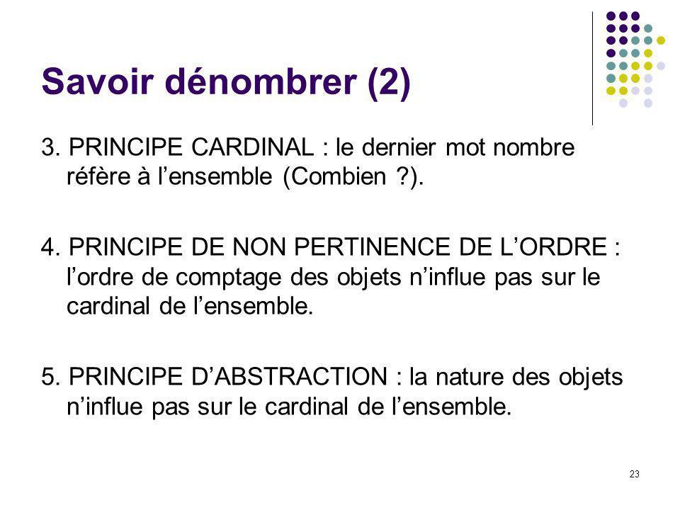 Savoir dénombrer (2) 3. PRINCIPE CARDINAL : le dernier mot nombre réfère à l'ensemble (Combien ).