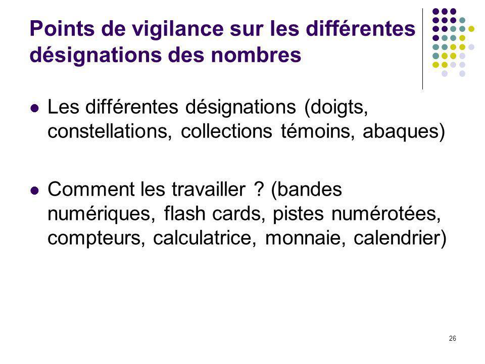 Points de vigilance sur les différentes désignations des nombres