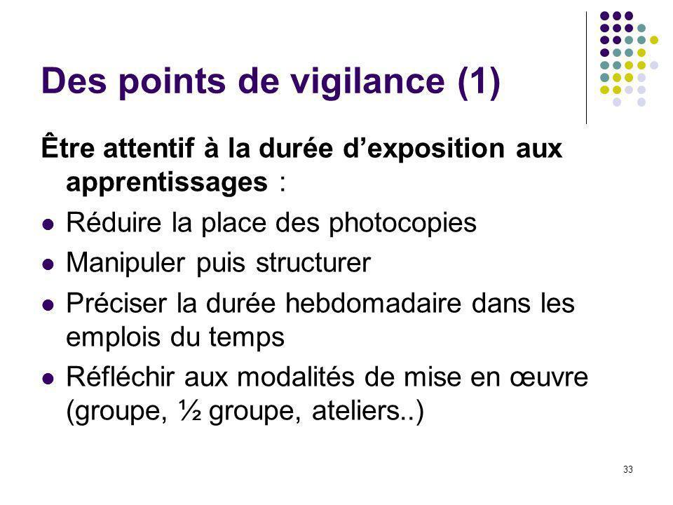 Des points de vigilance (1)