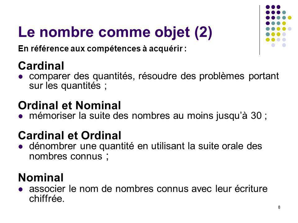 Le nombre comme objet (2)