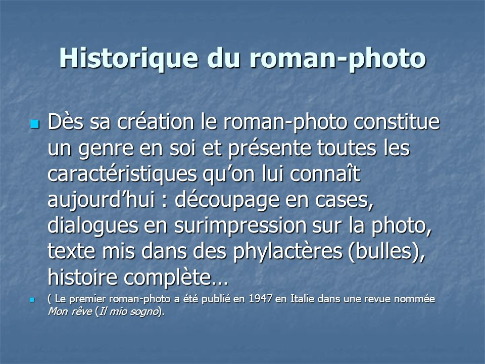 Historique du roman-photo