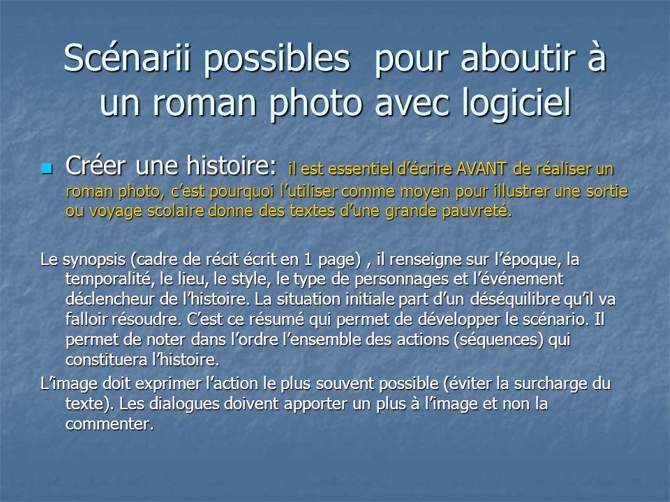 Scénarii possibles pour aboutir à un roman photo avec logiciel