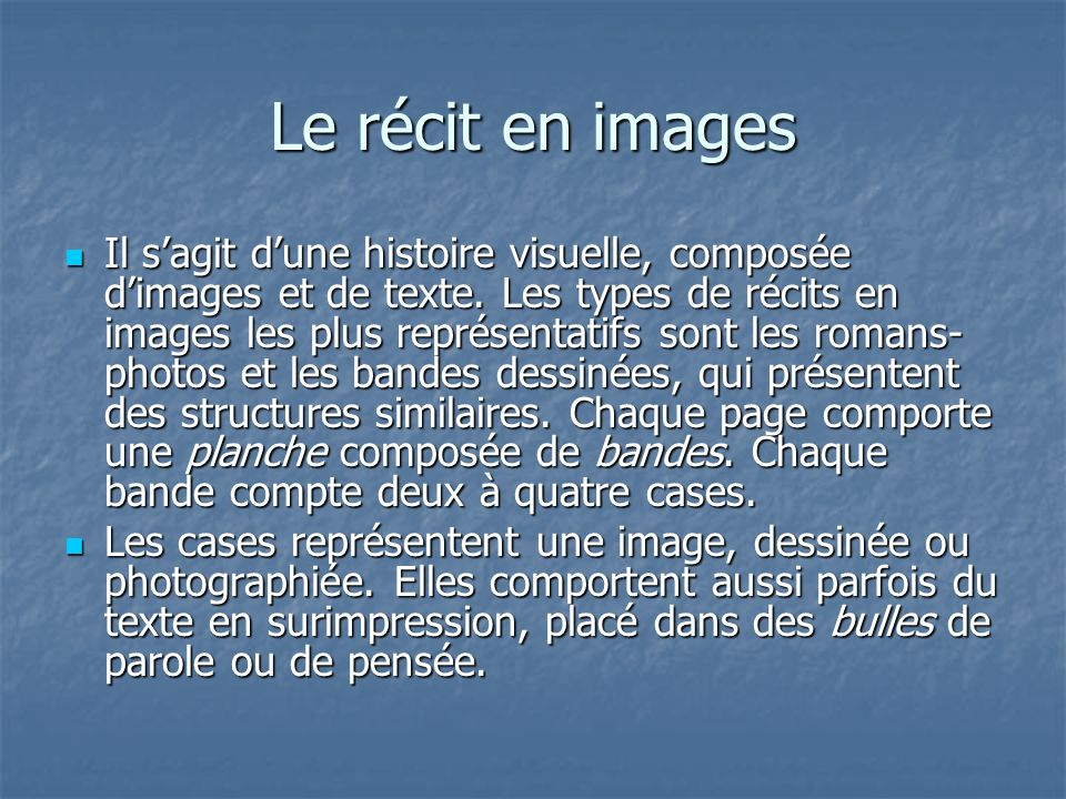 Le récit en images