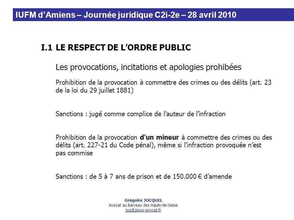 IUFM d'Amiens – Journée juridique C2i-2e – 28 avril 2010