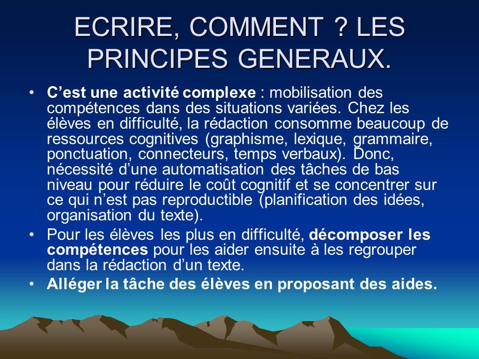 ECRIRE, COMMENT LES PRINCIPES GENERAUX.