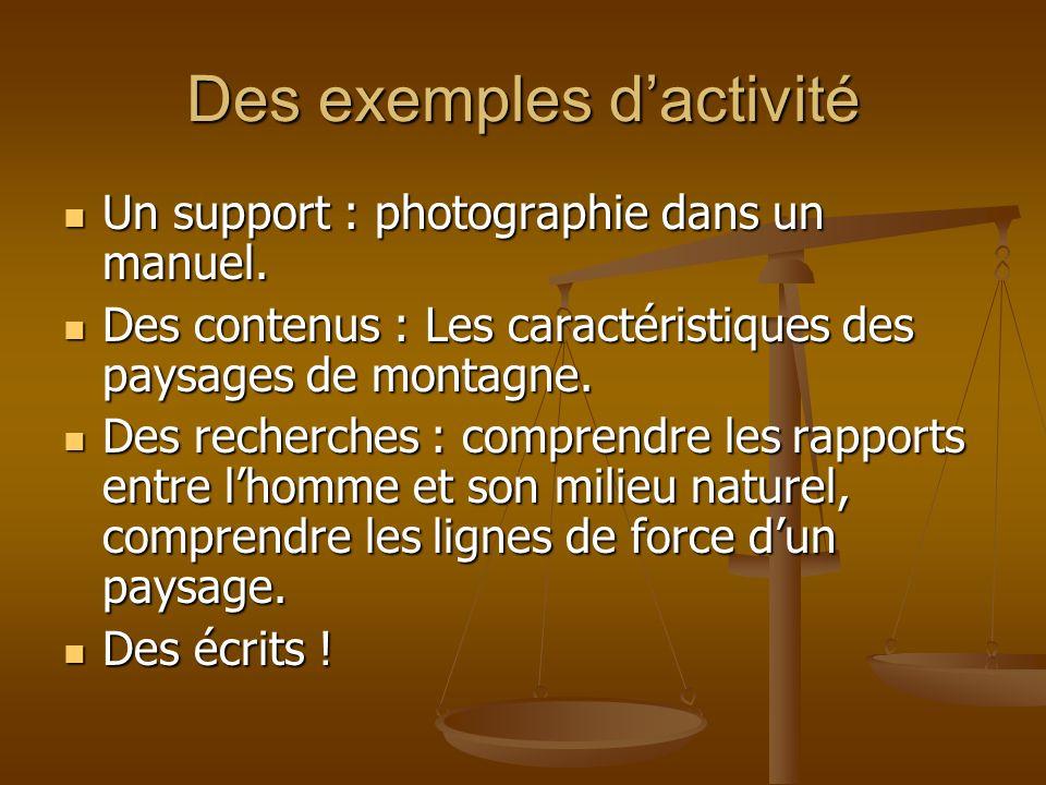 Des exemples d'activité