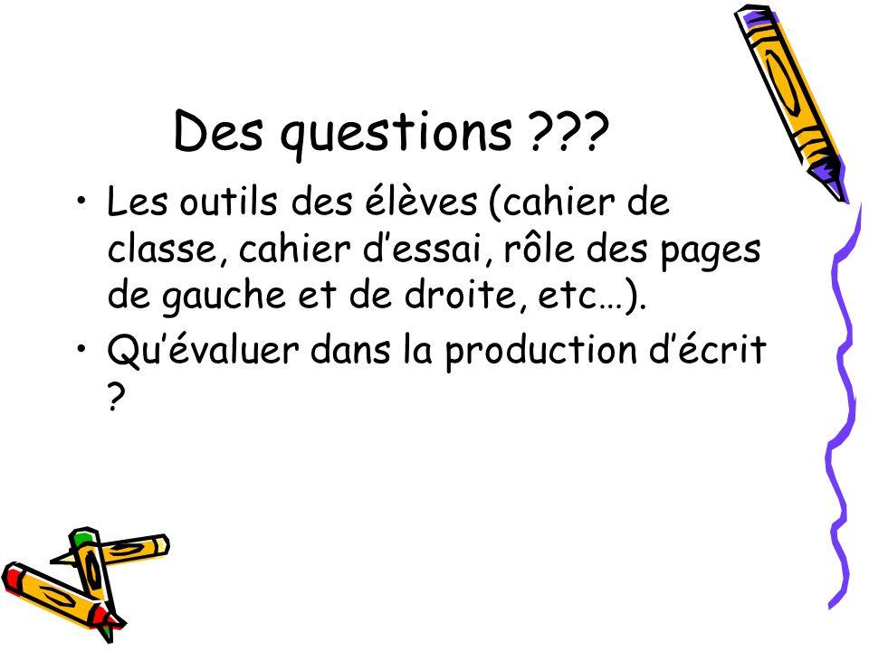 Des questions Les outils des élèves (cahier de classe, cahier d'essai, rôle des pages de gauche et de droite, etc…).