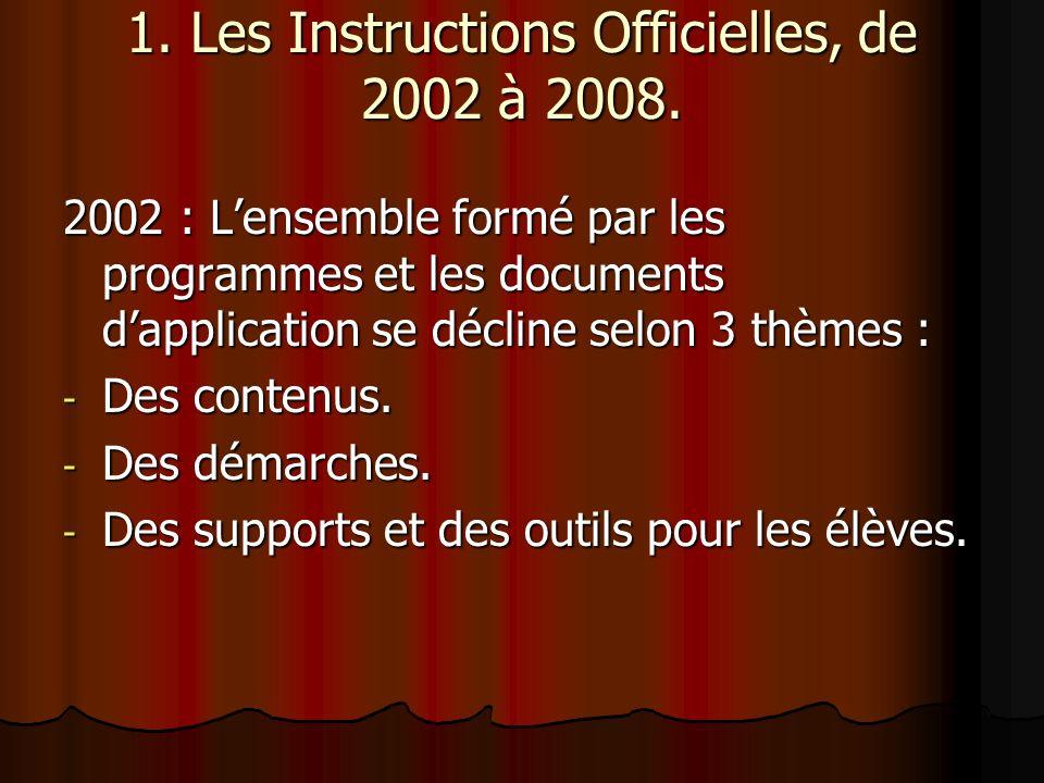 1. Les Instructions Officielles, de 2002 à 2008.