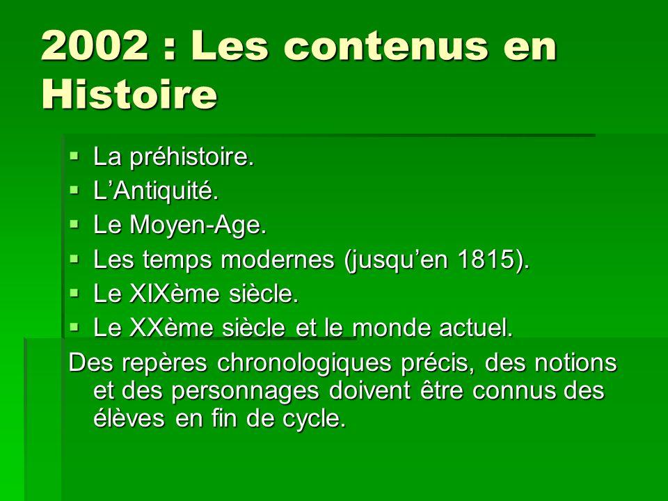2002 : Les contenus en Histoire