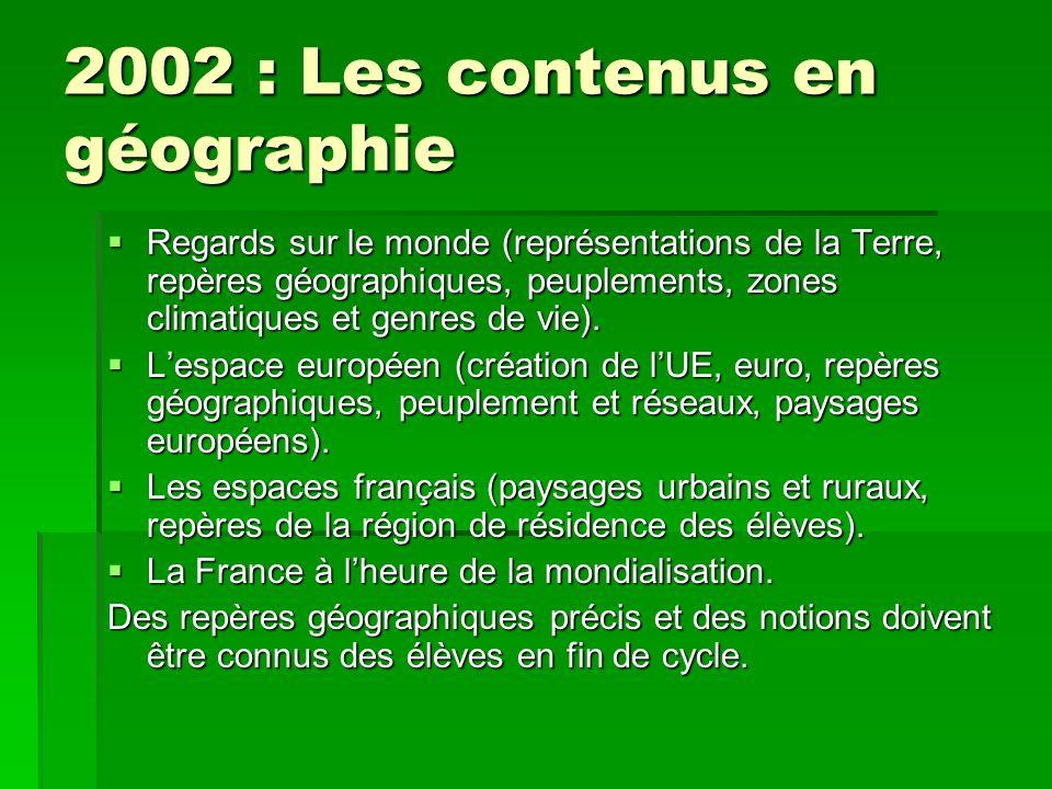 2002 : Les contenus en géographie