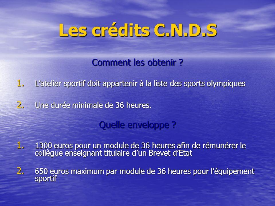 Les crédits C.N.D.S Comment les obtenir Quelle enveloppe