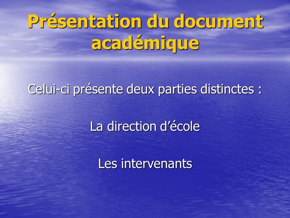 Présentation du document académique