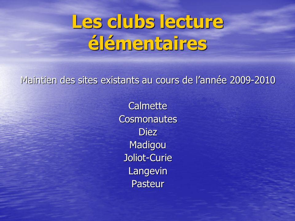 Les clubs lecture élémentaires