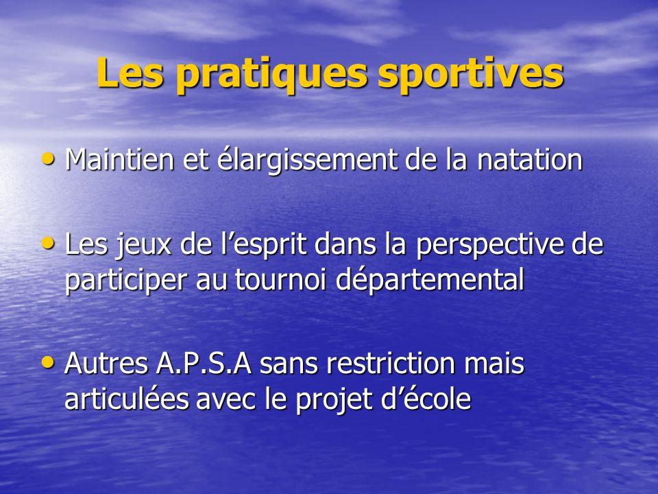 Les pratiques sportives
