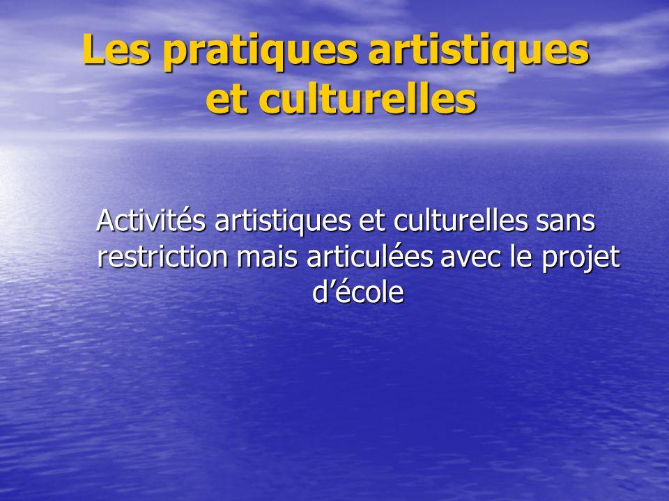 Les pratiques artistiques et culturelles