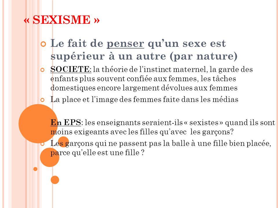« SEXISME » Le fait de penser qu'un sexe est supérieur à un autre (par nature)
