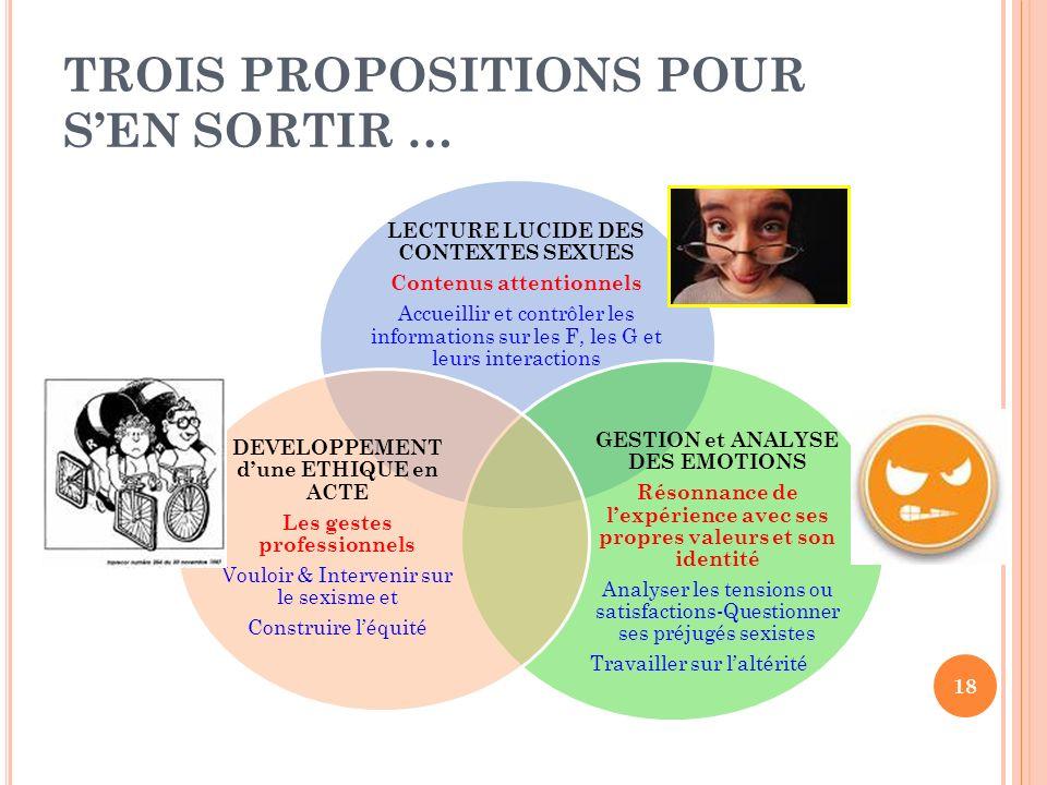 TROIS PROPOSITIONS POUR S'EN SORTIR …