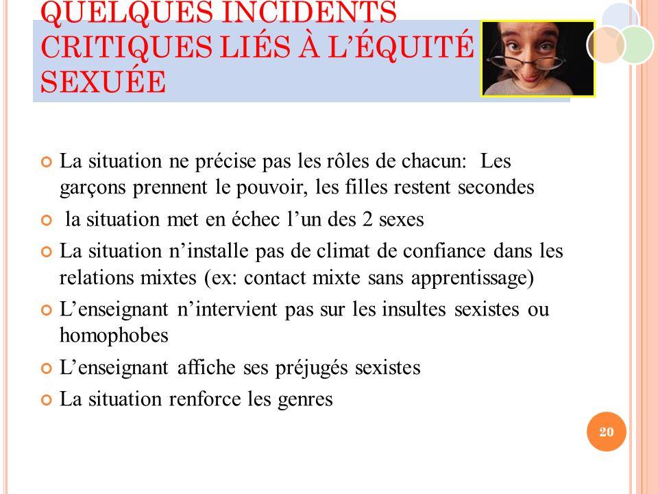 QUELQUES INCIDENTS CRITIQUES LIÉS À L'ÉQUITÉ SEXUÉE
