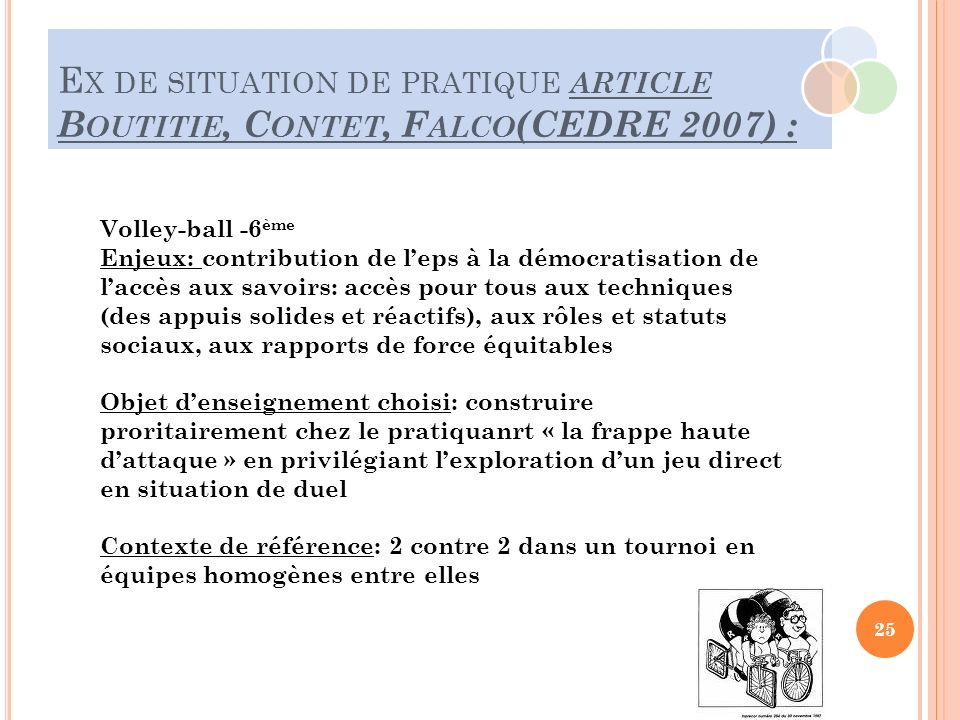 Ex de situation de pratique article Boutitie, Contet, Falco(CEDRE 2007) :