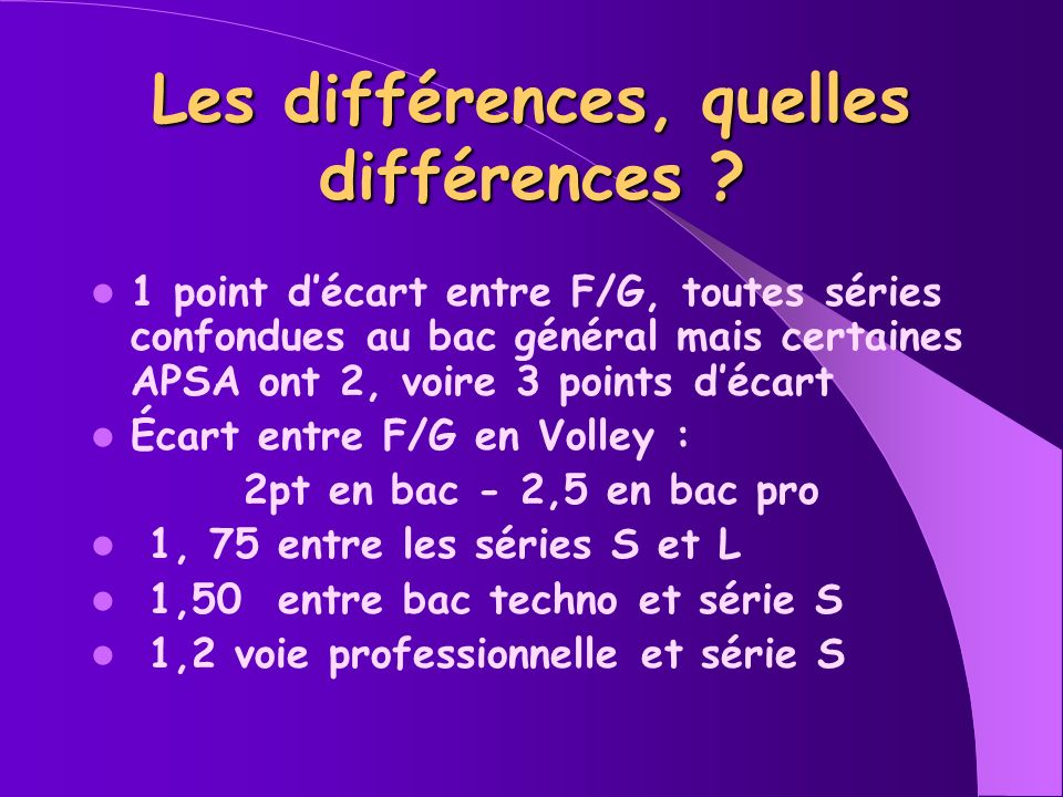 Les différences, quelles différences