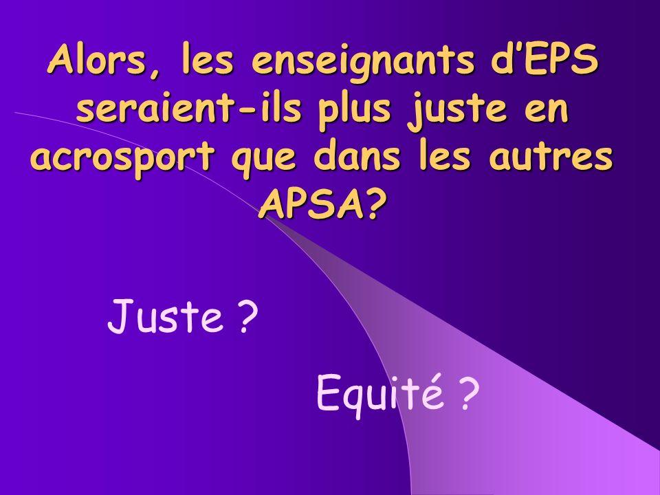 Alors, les enseignants d'EPS seraient-ils plus juste en acrosport que dans les autres APSA