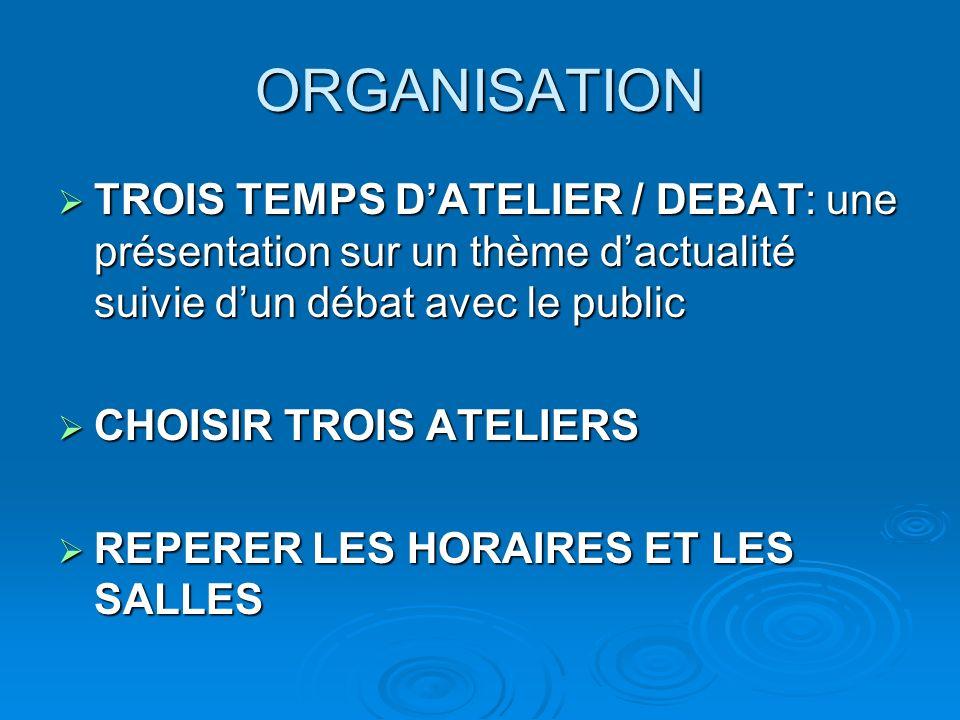 ORGANISATION TROIS TEMPS D'ATELIER / DEBAT: une présentation sur un thème d'actualité suivie d'un débat avec le public.