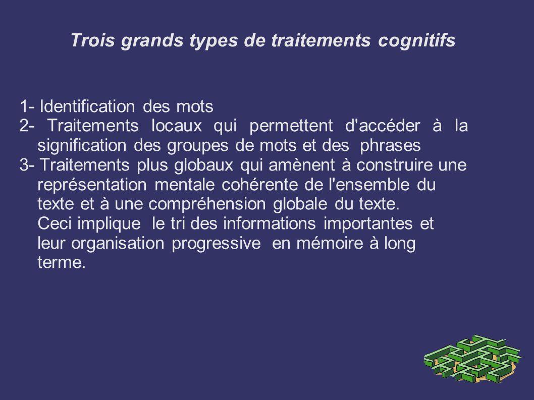 Trois grands types de traitements cognitifs