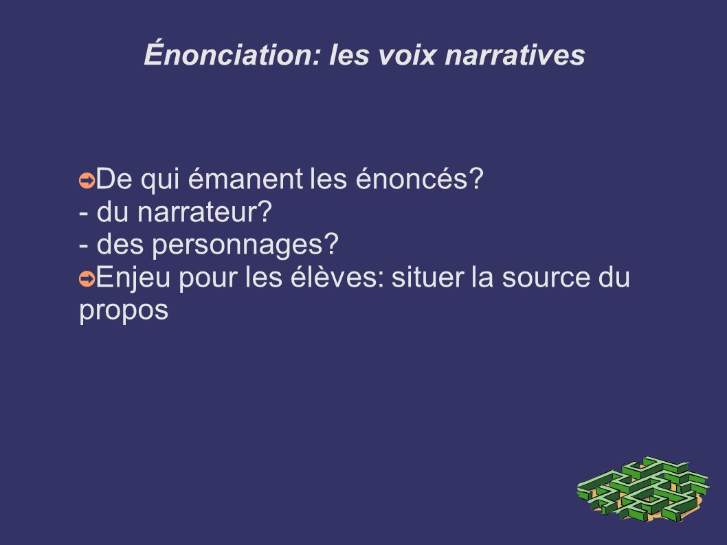 Énonciation: les voix narratives