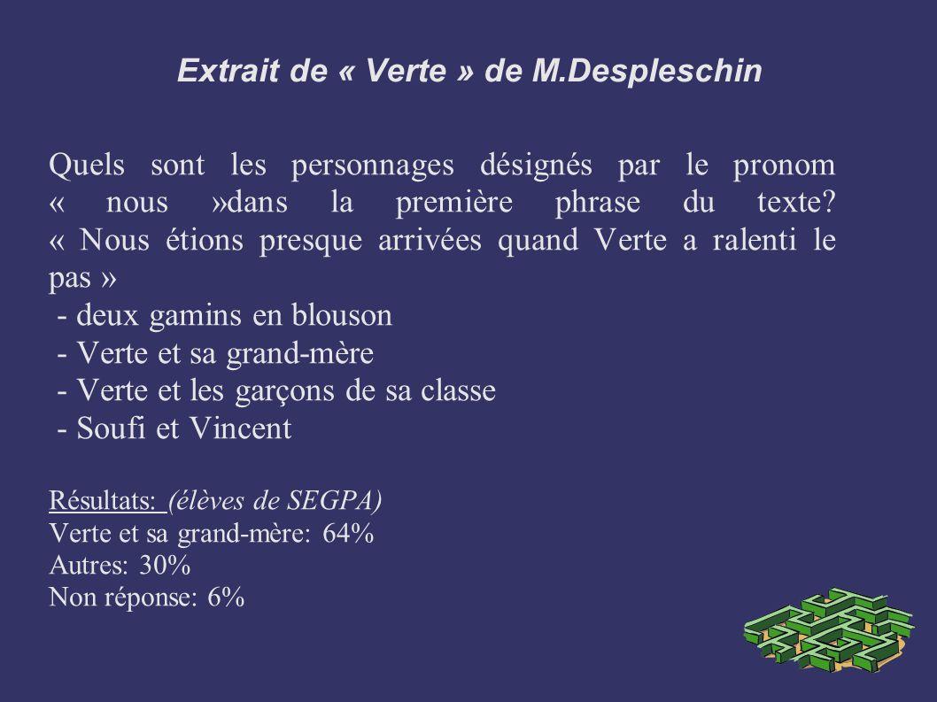 Extrait de « Verte » de M.Despleschin