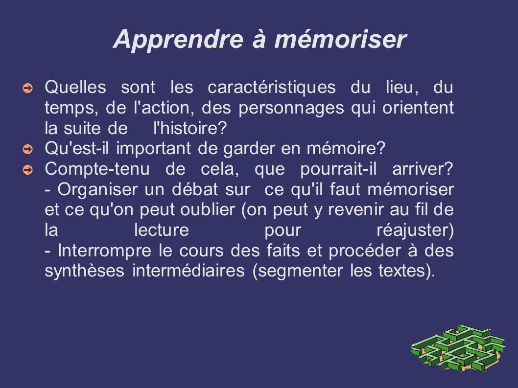 Apprendre à mémoriser Quelles sont les caractéristiques du lieu, du temps, de l action, des personnages qui orientent la suite de l histoire