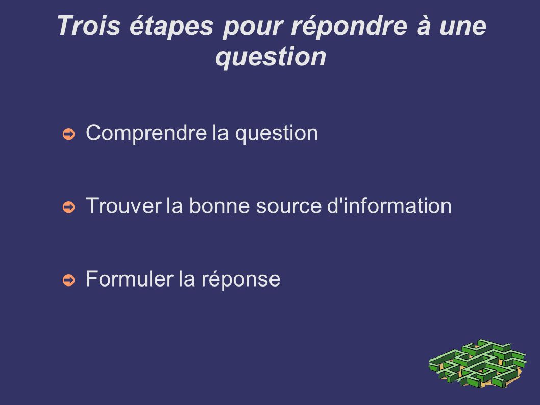Trois étapes pour répondre à une question