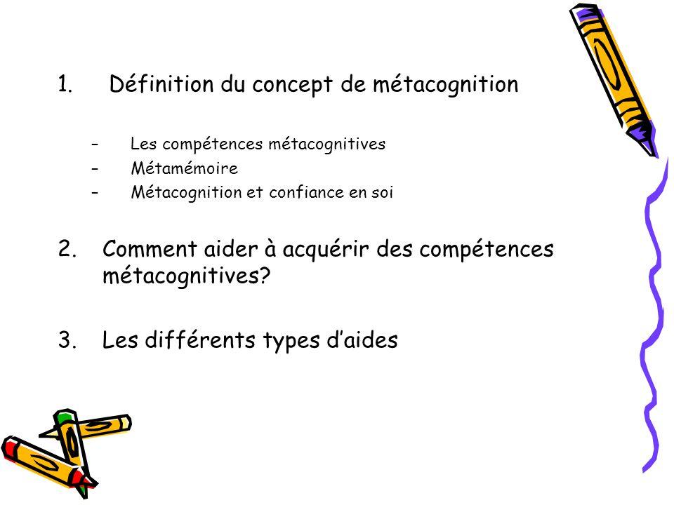 Définition du concept de métacognition