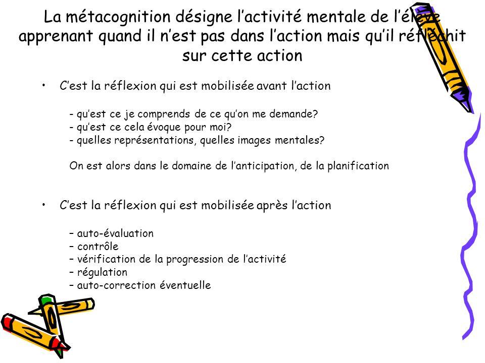 La métacognition désigne l'activité mentale de l'élève apprenant quand il n'est pas dans l'action mais qu'il réfléchit sur cette action