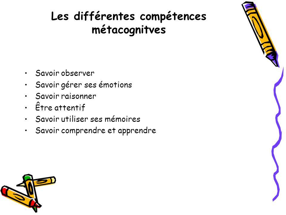 Les différentes compétences métacognitves